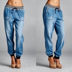 Pants - 🥳 Now Available 🥳Denim Joggers Light Wash 🛍💓❣️